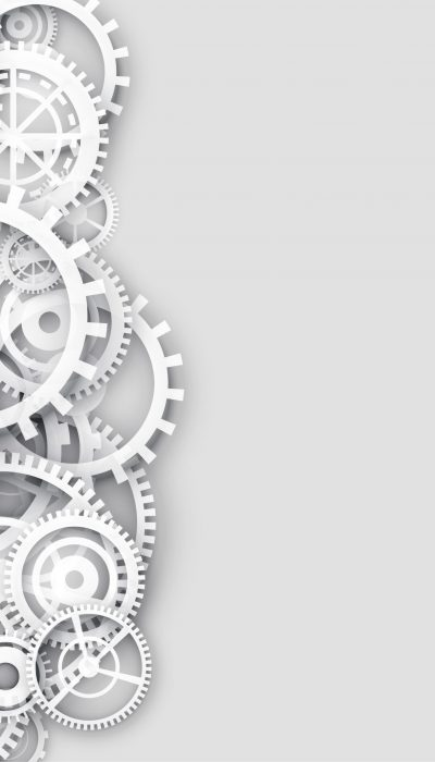 white background with 3d gears and text space